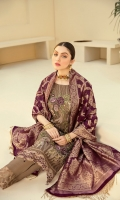 Embroidered Chiffon front with sequins Embroidered Chiffon back Embroidered Chiffon sleeves Embroidered Organza sleeves lace –2.5 Meter Embroidered Organza ghera lace Jamawar dupatta – 2.5 Meter Raw Silk trouser – 2.5 Meter Embroidered Organza trouser lace
