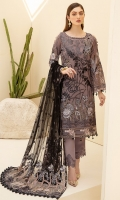 Embroidered Chiffon front with sequins Embroidered Chiffon back Embroidered Chiffon sleeves Embroidered Organza sleeves lace Embroidered Organza ghera lace Embroidered Net dupatta – 2.5 Meter Raw silk trouser – 2.5 Meter Embroidered Organza trouser lace