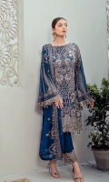Embroidered Chiffon front with sequins  Embroidered Chiffon back Embroidered Chiffon sleeves  Embroidered net sleeves lace Embroidered net ghera lace Embroidered Chiffon dupatta – 2.5 Meter  Raw silk trouser – 2.5 Meter  Embroidered net trouser lace
