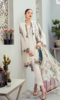 Embroidered Chiffon front with sequins  Embroidered Chiffon back Embroidered Chiffon sleeves  Embroidered tissue sleeves lace Embroidered tissue ghera lace Digital printed Chiffon dupatta – 2.5 Meter  Raw silk trouser – 2.5 Meter  Embroidered tissue trouser lace