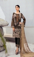 Embroidered Chiffon front with sequins  Embroidered Chiffon back Embroidered Chiffon sleeves  Embroidered tissue sleeves lace with pasting Embroidered tissue ghera lace Embroidered Chiffon dupatta – 2.5 Meter  Raw silk trouser – 2.5 Meter  Embroidered tissue trouser lace