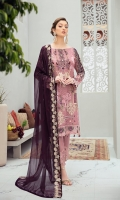 Embroidered Chiffon front with sequins Embroidered Chiffon back Embroidered Chiffon sleeves Embroidered tissue sleeves lace –1.25 Embroidered tissue ghera lace Embroidered chiffon Dupatta – 2.5 Meter Raw Silk trouser – 2.5 Meter  Embroidered tissue trouser lace