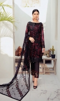 Embroidered Chiffon front with sequins  Embroidered Chiffon back Embroidered Chiffon sleeves  Embroidered tissue sleeves lace Embroidered tissue ghera lace Embroidered Net dupatta – 2.5 Meter  Raw silk trouser – 2.5 Meter  Embroidered tissue trouser lace