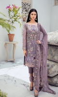 Embroidered Chiffon front with sequins  Embroidered Chiffon back Embroidered Chiffon sleeves  Embroidered tissue sleeves lace Embroidered tissue ghera lace Embroidered Chiffon dupatta – 2.5 Meter  Raw Silk trouser – 2.5 Meter  Embroidered tissue trouser lace