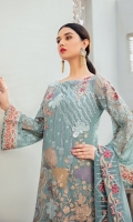 Embroidered Chiffon front with sequins  Embroidered Chiffon back Embroidered Chiffon sleeves  Embroidered tissue sleeves lace–1.25 Embroidered tissue ghera lace Embroidered Chiffon dupatta – 2.5 Meter  Raw Silk trouser – 2.5 Meter  Embroidered tissue trouser lace