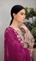 Embroidered Chiffon front with sequins Embroidered Chiffon back Embroidered Chiffon sleeves Embroidered tissue sleeves lace –2.5 Meter  Embroidered tissue ghera lace Embroidered Chiffon dupatta – 2.5 Meter Raw Silk trouser – 2.5 Meter  Embroidered tissue trouser lace