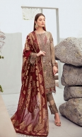 Embroidered Chiffon front with sequins  Embroidered Chiffon back Embroidered Chiffon sleeves  Embroidered tissue sleeves lace Embroidered tissue ghera lace Jamawar dupatta – 2.5 Meter  Raw silk trouser – 2.5 Meter  Embroidered tissue trouser lace
