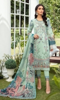 Digital printed shirt 3 meter Embroidered front Embroidered patch for daman Digital printed silk dupatta 2.5 meter Dyed trouser 2.5 meter