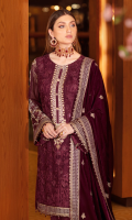 Embroidered chiffon front with sequins Embroidered chiffon back Embroidered chiffon sleeves Embroidered silk sleeves lace Embroidered neckline for front Embroidered silk damn lace Embroidered velvet Shawl 2.5 Meter Raw silk trouser – 2.5 Meter