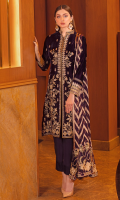 Embroidered velvet front with sequins Embroidered velvet back Embroidered velvet sleeves Embroidered silk sleeves lace Embroidered silk damn lace Embroidered jamawar dupatta – 2.5 meter Raw silk trouser – 2.5 Meter