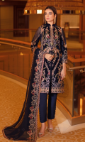 Embroidered velvet front with sequins Embroidered velvet back Embroidered velvet sleeves Embroidered silk sleeves lace with patches Embroidered silk damn lace Embroidered chiffon dupatta – 2.5 Meter Raw silk trouser – 2.5 Meter