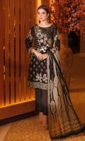 Embroidered velvet front with sequins Embroidered velvet back Embroidered velvet sleeves Embroidered silk sleeves lace Embroidered silk damn lace Printed  jamawar dupatta – 2.5 meter Raw silk trouser – 2.5 Meter