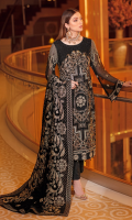 Embroidered chiffon front with sequins Embroidered chiffon back Embroidered chiffon sleeves Embroidered silk sleeves lace Embroidered silk damn lace Embroidered velvet Shawl 2.5 Meter Raw silk trouser – 2.5 Meter