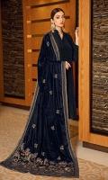 Velvet shawl with dyed unstitch raw silk