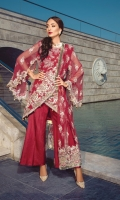 Shirt: - Heavy Embroidered Chiffon Dupatta: - Embroidered Net Organza, Organza Jacquard and Bamber Chiffon Dupatta Trouser: - Dyed Russian Grip with Embroidery