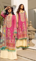 Digital print Sequined embroidered Shirt front on lawn 1.25 yards Digital print Shirt back and Sleeve on lawn 2 yards Digital printed chiffon dupatta 2.70 yards Dyed cotton trouser 2.70 yards