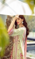 Digital print Sequined embroidered Shirt front on dobby lawn 1.25 yards Digital print Shirt back and Sleeve on dobby lawn 2 yards Digital printed chiffon dupatta 2.70 yards Dyed cotton trouser 2.70 yards
