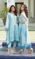 Sequined Embroidered Shirt front on lawn 1.25 yards brosha jacqared back and sleeve 2 yard Embroidered shirt back lace on tissue 30 inch Embroidered shirt neck lace on tissue 40 inch Embroidered chiffon dupatta 2.5 yards Embroidered chiffon dupatta pallu 84 inch Dyed cotton trouser 2.70 yards