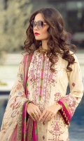 Rotery print sequined embroidered Shirt front on lawn 1.25 yards Rotery print sequined embroidered Shirt back on lawn 1.25 yards Rotery print sequined embroidered Shirt sleeve on lawn 0.70 yards Digital printed chiffon dupatta 2.70 yards Dyed cotton trouser 2.70 yards