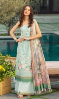 Digital print embroidered Shirt front on dobby lawn 1.25 yards Digital print Shirt back and Sleeve on dobby lawn 2 yards Embroidered neck lace on tissue 40 inch Digital printed chiffon dupatta 2.70 yards Dyed cotton trouser 2.70 yards