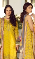 Digital print Sequined embroidered Shirt front on lawn 1.25 yards Digital print Shirt back and Sleeve on lawn 2 yards Digital printed chiffon dupatta 2.70 yards Dyed cotton trouser 2.70 yard