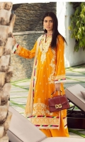 Rotery print embroided Shirt front on lawn 1.25 yards Rotery print embroided Shirt back on lawn 1.25 yards Rotery print embroided Shirt sleeve on lawn 0.70 yards Embroidered shirt front border 30 inch Embroidered shirt back border 30 inch Embroidered chiffon dupatta 2.5 yards Embroidererd chiffon dupatta pallu 84 inch Dyed cotton trouser 2.70 yards