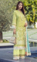 Rotery print embroidered Shirt front on lawn 1.25 yards Rotery print embroidered Shirt back on lawn 1.25 yards Rotery print embroidered Shirt sleeve on lawn 0.70 yards Embroidered shirt front border 30 inch Embroidered shirt sleeve lace 40 inch Embroidered chiffon dupatta 2.5 yards Embroidered chiffon dupatta pallu add with dupatta 84 inch Dyed cotton trouser 2.70 yards