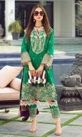Rotery print embroidered Shirt front on lawn 1.25 yards Rotery print embroidered Shirt back on lawn 1.25 yards Rotery print embroidered Shirt sleeve on lawn 0.70 yards Embroidered sleeve lace on tissue 40 inch Digital printed chiffon dupatta 2.70 yards Dyed cotton trouser 2.70 yards