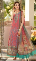 Digital print Sequined embroidered Shirt front on lawn 1.25 yards Digital print Shirt back and Sleeve on lawn 2 yards Sequined embroidered shirt front border on tissue 30 inch Digital printed chiffon dupatta 2.70 yards Dyed cotton trouser 2.70 yards