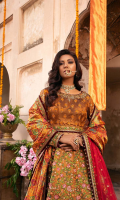 Sequined embroidered lahnga on taffeta with hand work 14-panels Sequined embroidered shirt body on taffeta with hand work 1 yard Sequined embroidered sleeve on taffeta with hand work 0.70 yard Sequined embroidered lahnga lace on taffeta 5 yard Sequined embroidered dupatta on net 2.5 yard Printed Dupatta on tissue 2.5 yard Dyed gold jacquard dupatta pallu 1 pair Embroidered dupatta four side 1st border on taffeta 10 yard Embroidered dupatta four side 2nd border on taffeta 10 yard Dyed Shirt linning on PK raw silk 6 yard