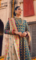 Sequined embroidered lehanga on organza with hand work 16-Panels Sequined embroidered shirt body on organza with hand work 1 yard Sequined embroidered sleeve on organza with hand work 0.70 yard Sequined embroidered sleeve motif on organza 1 pair Sequined embroidered lehanga border on two tone tissue 5 yard Sequined embroidered lehanga lace on organza 35 yard Sequined embroidered dupatta on two tone tissue 2.5 yard Sequined embroidered four side dupatta border on two tone tissue 10 yard Dyed jamawar trouser 2.75 yard Sequined embroidered trouser border on organza 60 inch