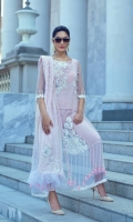 Embroidered Net Shirt Dyed with Hand Embellishment - 3.25 Yards Dyed Cotton Net Jacquard Dupatta - 2.73 Yards Dyed Inner Lining - 2 Yards Printed Grip Trouser - 2.65 Yards Embroidered Dupatta Motif on Tissue with Hand Embellishment - 01 Pair