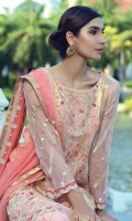 """Embroidered Chiffon Shirt with Hand Embellished Gota Work - 3.25 Yards Embroidered Dupatta with Hand Embellished Gota Work - 2.73 Yards Dyed Inner Lining - 2 Yards Dyed Grip Trouser - 2.65 Yards Embroidered Border Lace on Tissue: 30"""" (Front & Back) - 02 Pieces"""
