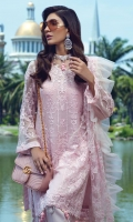 """Embroidered Dyed Chiffon Shirt with Sequins - 3.25 Yards Embroidered Dyed Net Dupatta with Sequins - 2.73 Yards Dyed Inner Lining - 2 Yards Dyed Grip Trouser - 2.65 Yards Embroidered Border Lace on Tissue: 30"""" (Front & Back) - 02 Pieces"""