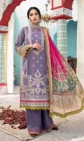 Digital print embroidered Shirt front on lawn 1.25 yards Digital print Shirt back and Sleeve on lawn 2 yards Digital printed chiffon dupatta 2.70 yards Dyed cotton trouser 2.70 yards