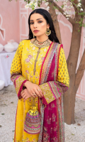 Digital print embroidered Shirt front on lawn 1.25 yards Digital print Shirt back and Sleeve on lawn 2 yards Embroidered sleeve border on organza 40 inch Digital printed chiffon dupatta 2.70 yards Embroidered border on organza for dupatta 280 inch Embroidered trouser border 60 inch Dyed cotton trouser 2.70 yards