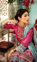 Digital print embroidered Shirt front on lawn 1.25 yards Digital print Shirt back and Sleeve on lawn 2 yardss Digital printed chiffon dupatta 2.70 yards Dyed cotton trouser 2.70 yards