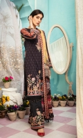 Digital print embroidered Shirt front on lawn 1.25 yards Digital print Shirt back and Sleeve on lawn 2 yards Embroidered sleeve lace on organza 40 inch Digital printed chiffon dupatta 2.70 yards Embroidered trouser border 60 inch Dyed cotton trouser 2.70 yards