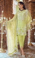 Shirt Front Embroidered on Chiffon 1.10 Yards Shirt Back & Sleeves Embroidered on Chiffon 1.68 Yard Dyed Grip Trouser 2.65 Yard Embroidered Chiffon Dupatta 2.50 Yard Shirt Front & Sleeves Border on Tissue - 70