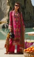 Digital print embroidered shirt front on lawn 1.25 yards Digital print embroidered shirt back on lawn 1.25 yards Digital print embroidered shirt sleeve on lawn 0.70 yards Digital print dupatta on pure chiffon 2.70 yards Embroidered trouser lace on organza 60 inch Dyed cotton trouser 2.70 yards