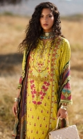 Digital print embroidered shirt front on lawn 1.25 yards Digital print shirt back and sleeve on lawn 2 yards Embroidered shirt front border on orgaza 30 inch Embroidered shirt sleeve lace on organza 40 inchs Digital print dupatta on pure chiffon 2.70 yards Embroidered trouser lace on organza 60 inch Dyed cotton trouser 2.70 yards