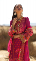 Embroidered shirt front on dobby lawn 1.25 yards Embroidedre shirt back on dobby lawn 1.25 yards Embroidered shirt sleeve on dobby lawn 0.70 yards Embroidered shirt back border on dobby lawn add with back 40 inch Embroidered pure chiffon dupatta 2.90 yards Embroidered dupata pallu on pure chiffon add with dupatta 90 inch Dyed cotton trouser 2.70 yards