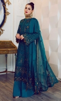 """A mesmerizingly hand-crafted embroidered chiffon front 1.10 yards, A mesmerizingly hand-crafted embroidered chiffon back 1.10 yards, An elegant chiffon hemline 1-Piece, An alluring & chic chiffon front border 30"""", 1-Piece, An alluring & chic chiffon back border 30"""", 1-Piece, Graceful chiffon sleeves 0.70 yards, Classy chiffon patches for sleeves 1 Pair, Trendy chiffon patches for trousers 1Pair, An enchantingly embroidered chiffon dupatta 3 yards, A chic fully embroidered and hand crafted chiffon motif for dupatta 2 Pairs, An elegant embroidered chiffon border for dupatta 84"""", 1-Piece, A classic plain dyed trouser 2.65 yards, Essential plain grip lining for shirt 2.50 yards,"""