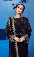 """A richly Embroidered net front 1.10 yards, A richly Embroidered net back 1.10 yards, Gracefully embroidered net sleeves 0.70, Exquisitly net patches for the hemline 1-Pair, Delicate net patches for the neck 1-Pair, Gorgeously hand crafted net patches for the sleeves 1-Pair, An intricately embroidered net front border 30"""", 1- Piece, An intricately embroidered net back border 30"""", 1- Piece, alluringly embroidered and delicately hand crafted net borders for sleves -Piece A gracefully embroidered net dupatta body 3 yards, An elgegantly embroidered net 4 side boarder dupatta , 300'' 3-Pieces A heavily embroidered organza border for trouser 40"""", 1-Piece, A glossy jamawaar trouser 2.65 yards, A classic plain grip lining for shirt 2.50 yards,"""