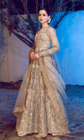 """Tastefully hand-crafted embroidered front on organza 1-Piece, Tastefully hand-crafted embroidered back on organza 1-Piece, Graceful & finely embroidered organza panels 12-Pieces, Embroidered Dupatta on Oranza 3 yards, Embroided Dupatta Pallu On Organza 84"""" 2 Pieces, Alluringly Embroided & Hand-Crafted Organza Sleeves 0.70 Yards, An elegant finishing border for panels 42"""", 16-Pieces, A gorgeous embroidered organza border 5 yards, 1-Piece, A gleaming jamawaar trouser 2.65 yards, A classic plain grip lining for shirt 2.50 yards,"""