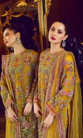 """An exquisitely hand-crafted embroidered net front 1.10 yards, An exquisitely hand-crafted embroidered net back 1.10 yards, Breathtakingly embroidered net sleeves 0.70 yards, A stunningly embroidered & delicately hand crafted net front border 30"""", 1-Piece, A stunningly embroidered net back border 30"""", 1-Piece, A chic embroidered organza patch for trouser 1 pair, A mesmerizingly embroidered net dupatta 3 yards, A luxuriously embroidered net pallu for dupatta 84' 1 piece, Chic & luxurious motifs for dupatta on net 02 pairs A trendy digitally printed trouser on soft Pakistani raw silk 2.65 yards, A classic plain grip lining for shirt 2.50 yards,"""