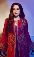 Intricately hand-crafted embroidered chiffon front 1.10 yards, Richly embroidered & adorned chiffon shirt back 1.20 Yards, Intricately hand-crafted embroidered chiffon sleeves 0.7 yards, Intricately hand-crafted embroidered chiffon front border 30'' 01 Piece Intricately hand-crafted embroidered shirt finish Patti 120'', 03 Pieces An elegantly embroidered tissue dupatta body 3.00 yards, An elegantly embroidered tissue border for dupatta 84'' 01 Piece A classic plain dyed trouser 2.65 Yards Essential plain grip lining for shirt 2.50 yards,