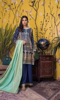 Printed Lawn Shirt - Contrast Printed Lawn Dupatta - Dyed Cambric Trouser