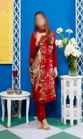 Embroidered linen shirt, Linen Trouser with Chiffon Dupatta