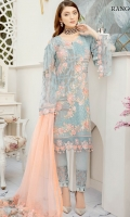 Embroidered Chiffon front with sequins– 30 inch Embroidered Chiffon back – 30 inch Embroidered Chiffon sleeves – 1.25 Meter Embroidered tissue sleeves lace – 1.25 Meter Embroidered tissue ghera lace – 1.5 Meter Embroidered Net dupatta – 2.50 Meter Raw Silk trouser – 2.5 Meter Embroidered tissue trouser patch